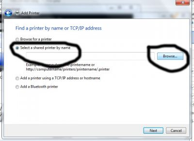 select a shared printer by name